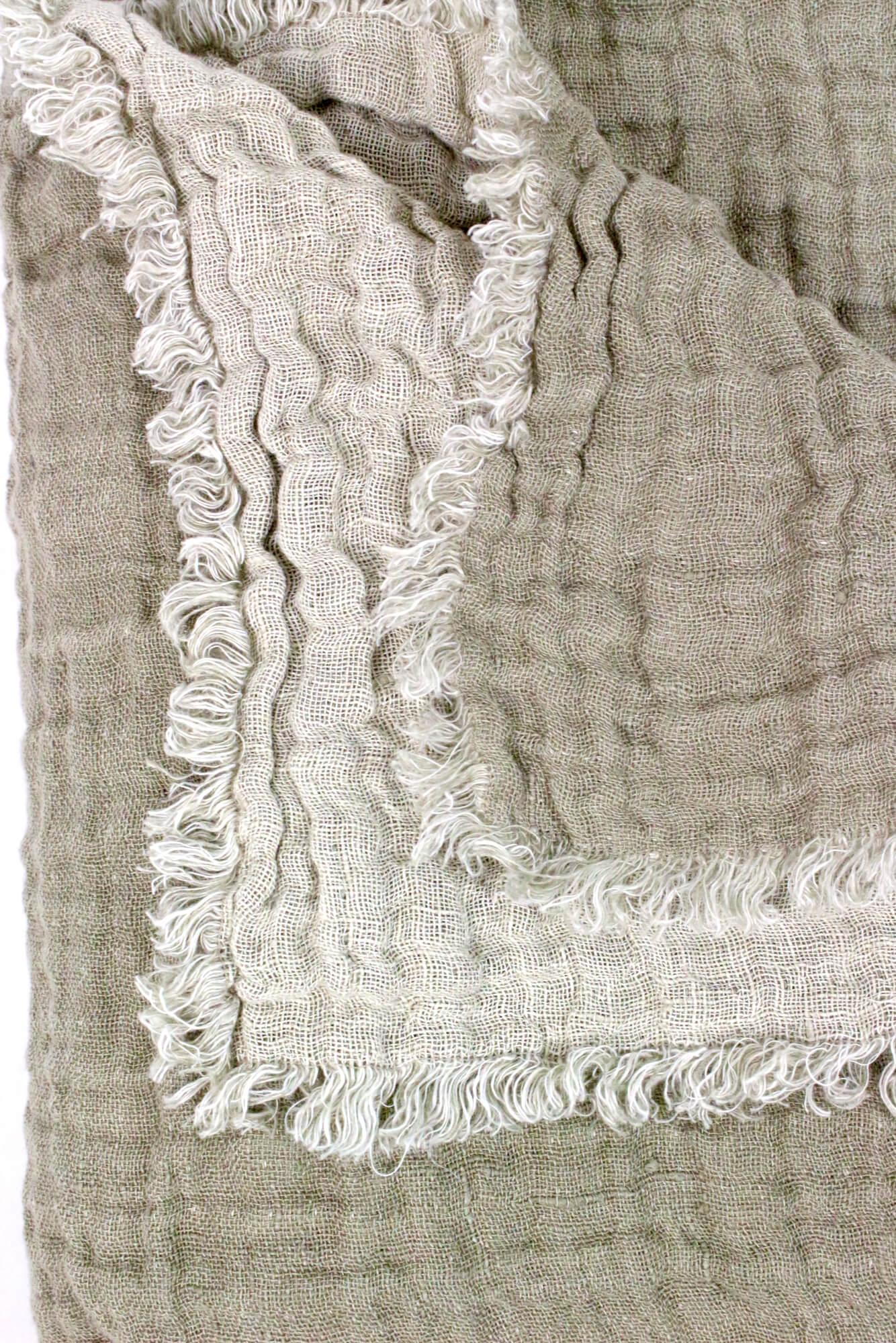 Decke aus Leinenkrepp zweifarbig natur