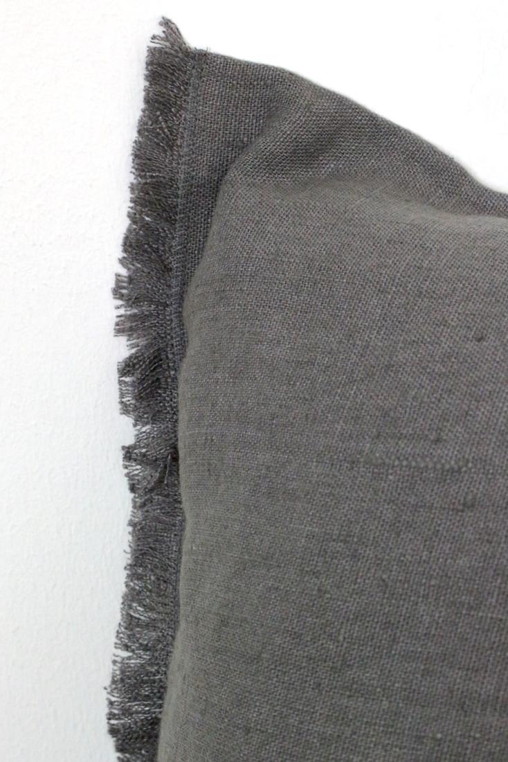 Leinen Kissenbezug mit Fransen grau, 45x45