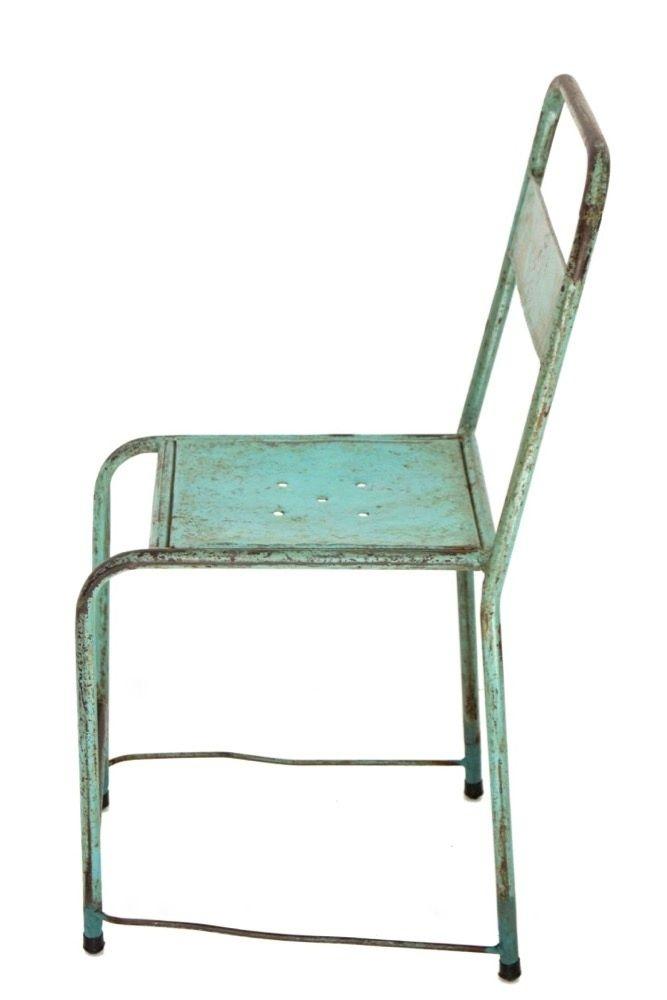 Vintage Metallstuhl türkis