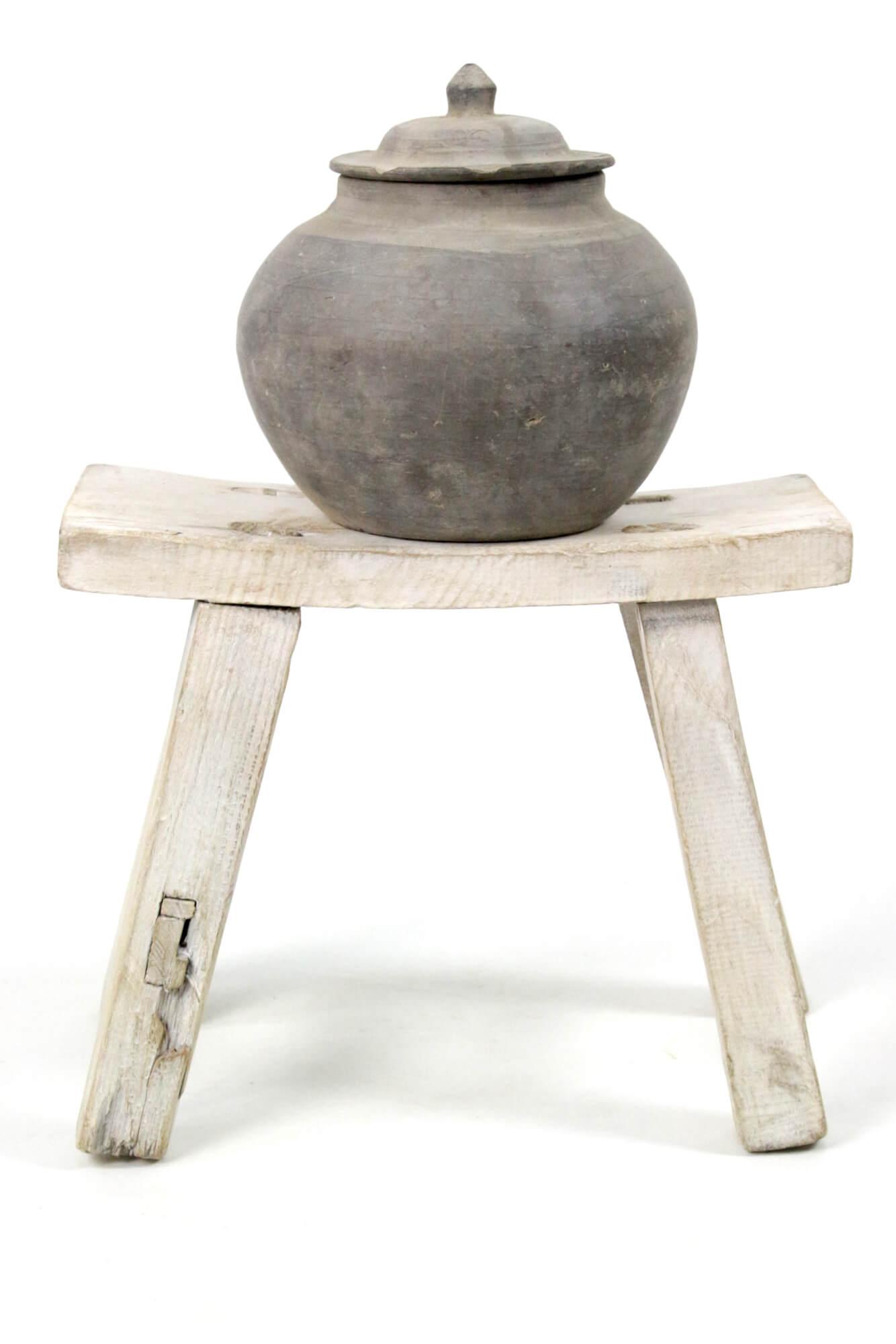 Keramikdose mit Deckel grau antik, 20x20