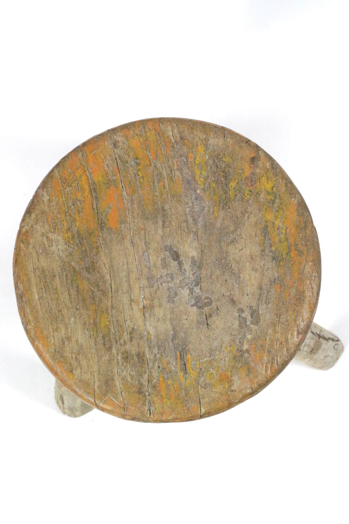 Runder Holzschemel antik