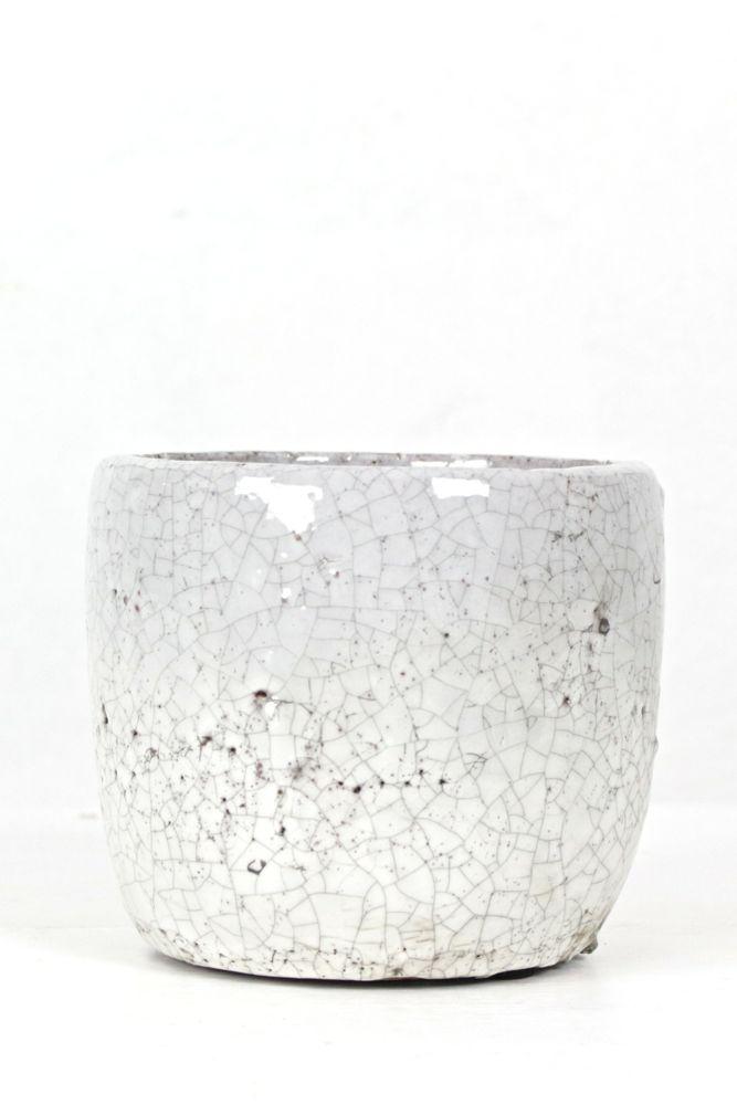 Topf aus Keramik, weiß, M