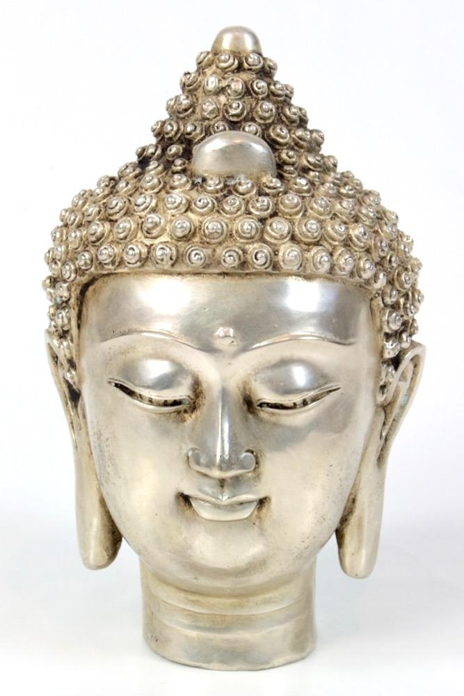 Buddha Kopf Messing versilbert, 22xø14