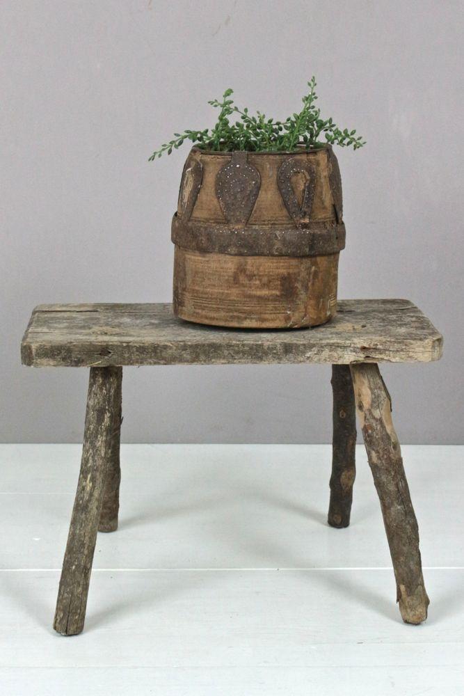 Holzschemel antik rustikal