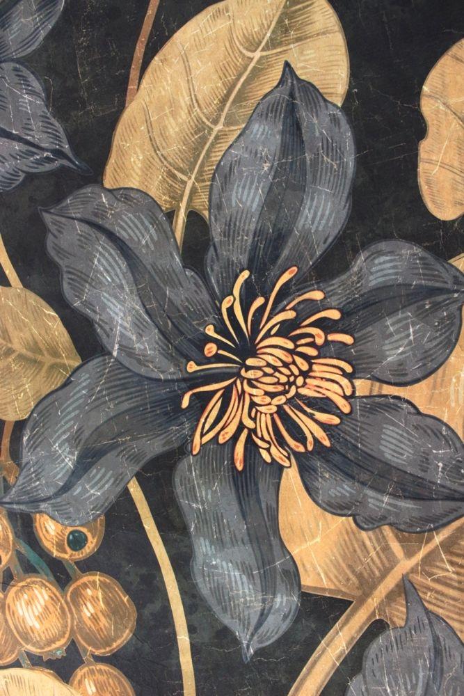 Wandbild 'Dunkle Blumen' auf Knitterpapier, 120x120