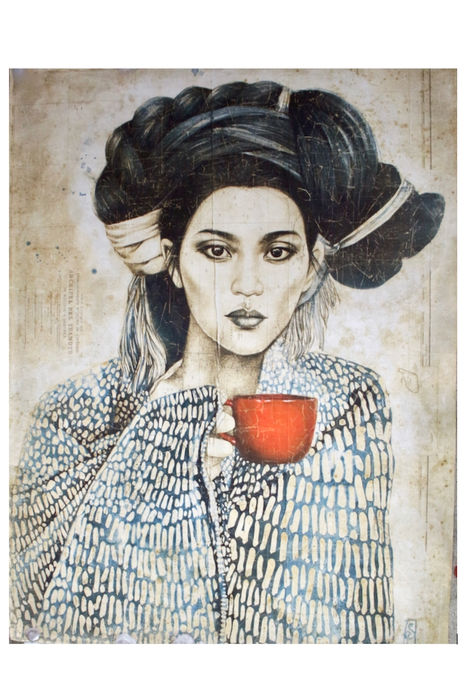 Großes Wandbild 'Chinesin mit roter Tasse' 200x150