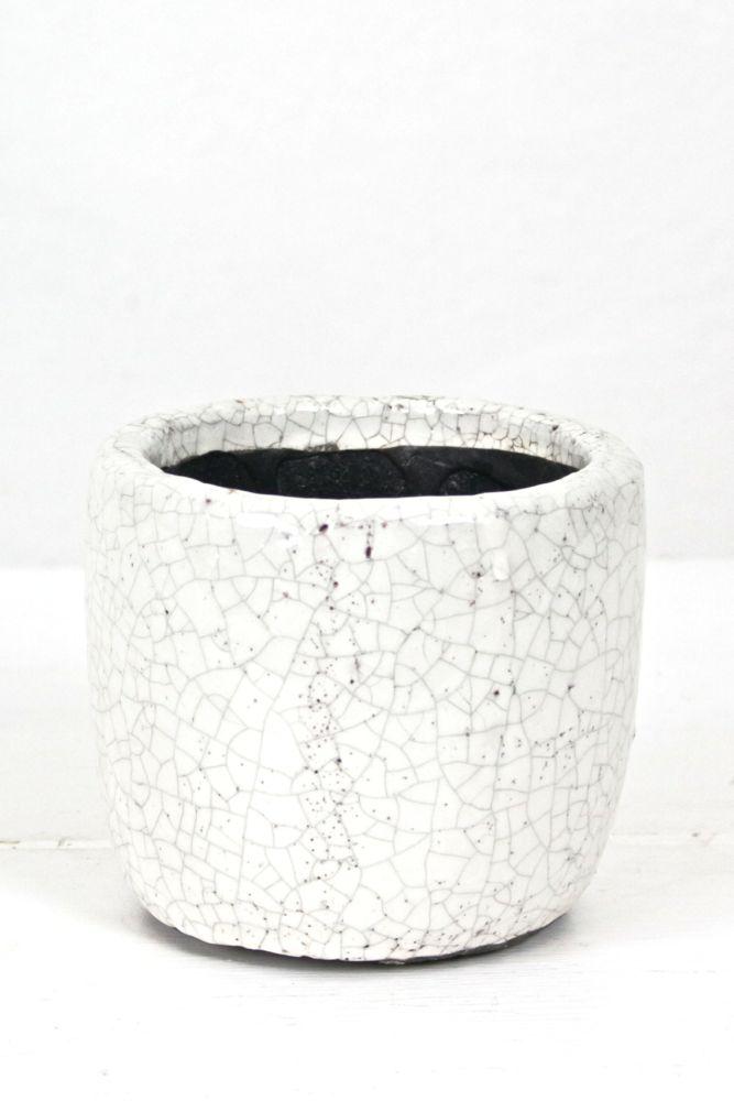 Blumentopf aus Keramik, weiß, S