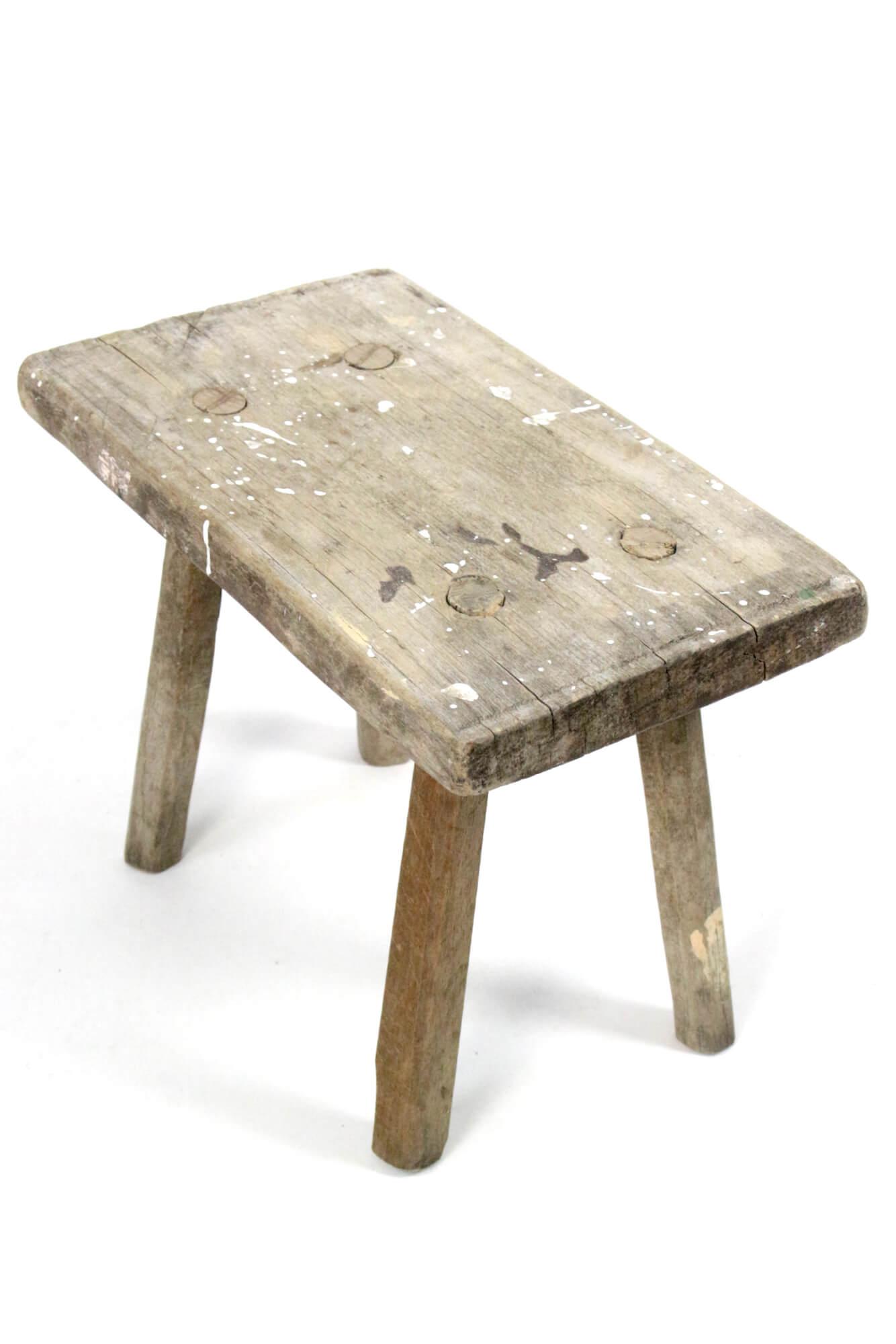 Antiker Holzschemel rustikal