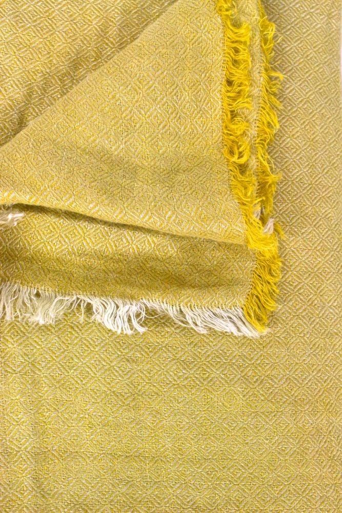 Leinenplaid aus gewaschenem Leinen, Safran Gelb