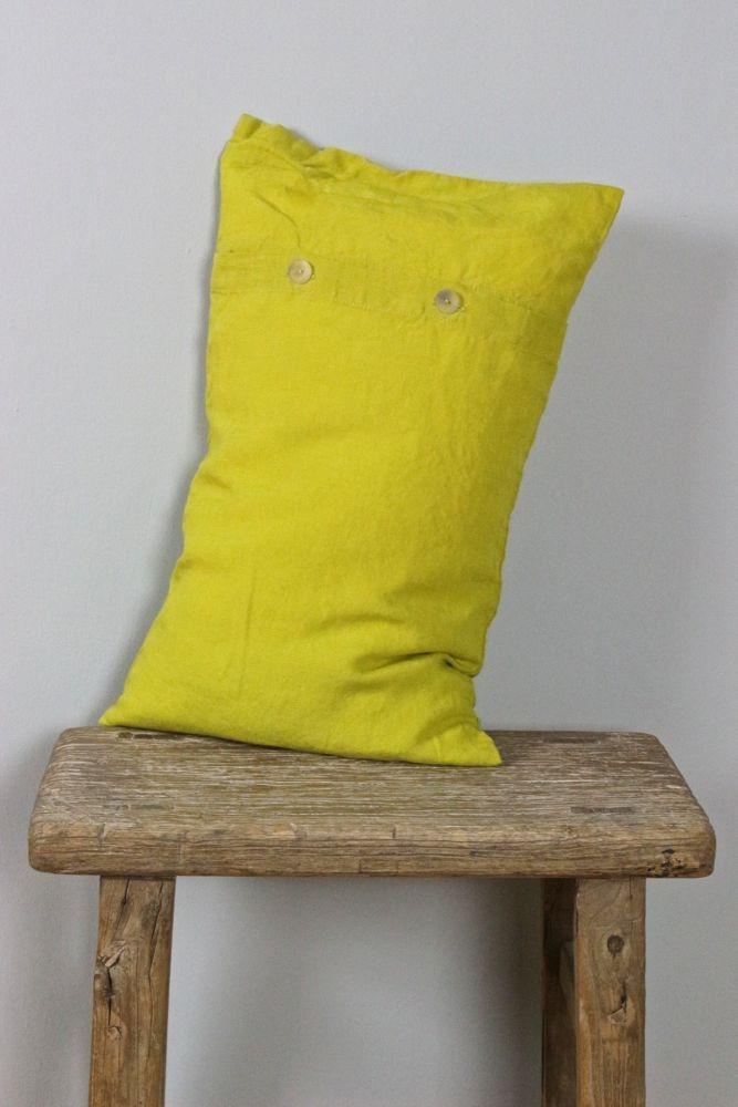 Leinenkissen stone washed, gelb 30x50