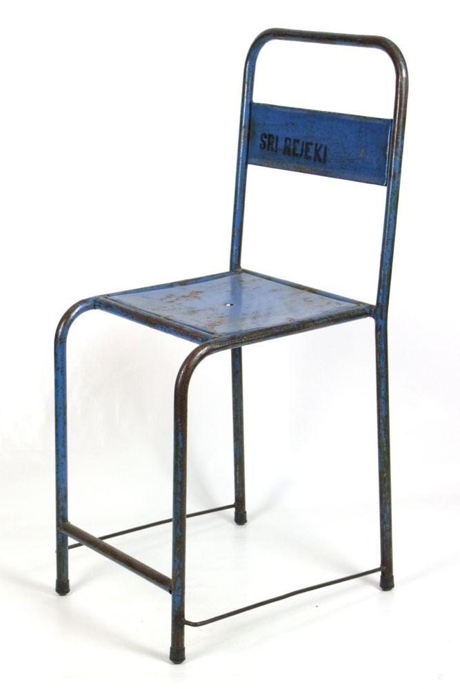Vintage Gartenstuhl Metall dunkelblau