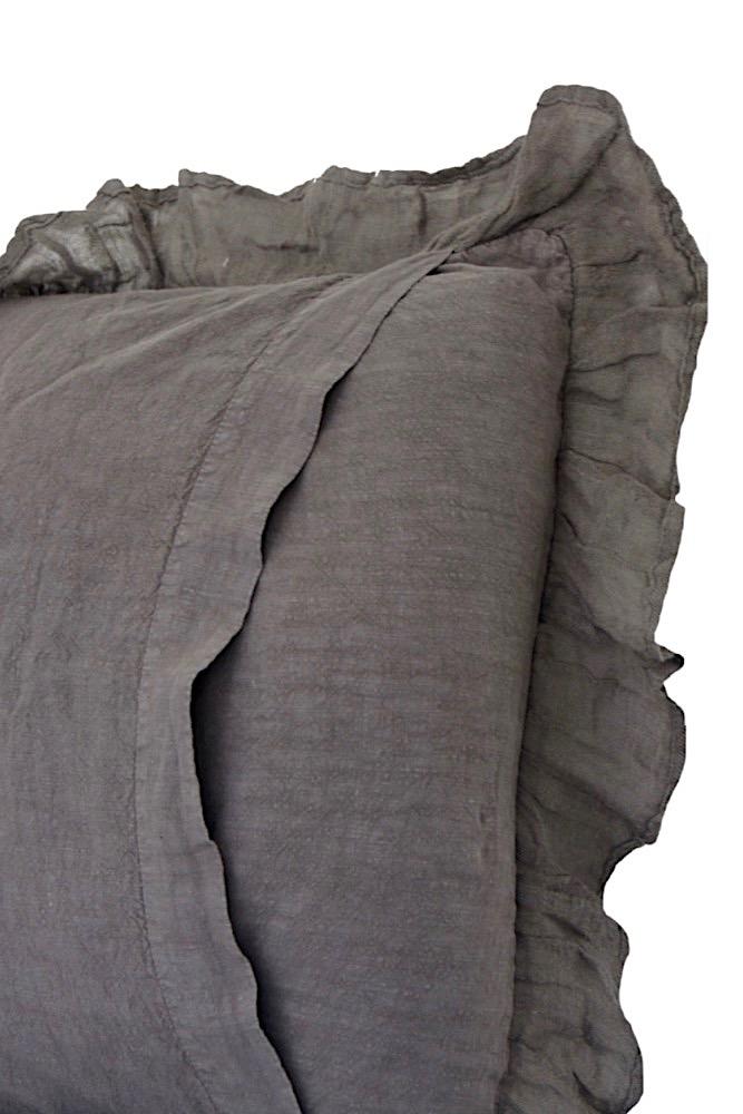 Leinenkissen mit Rüschen, taupe/braun, 45x45
