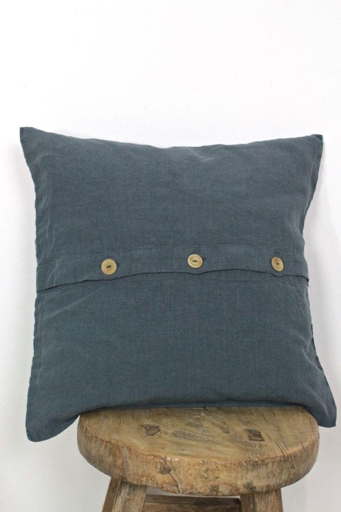 Leinenkissen stonewashed blaugrau, 40x40
