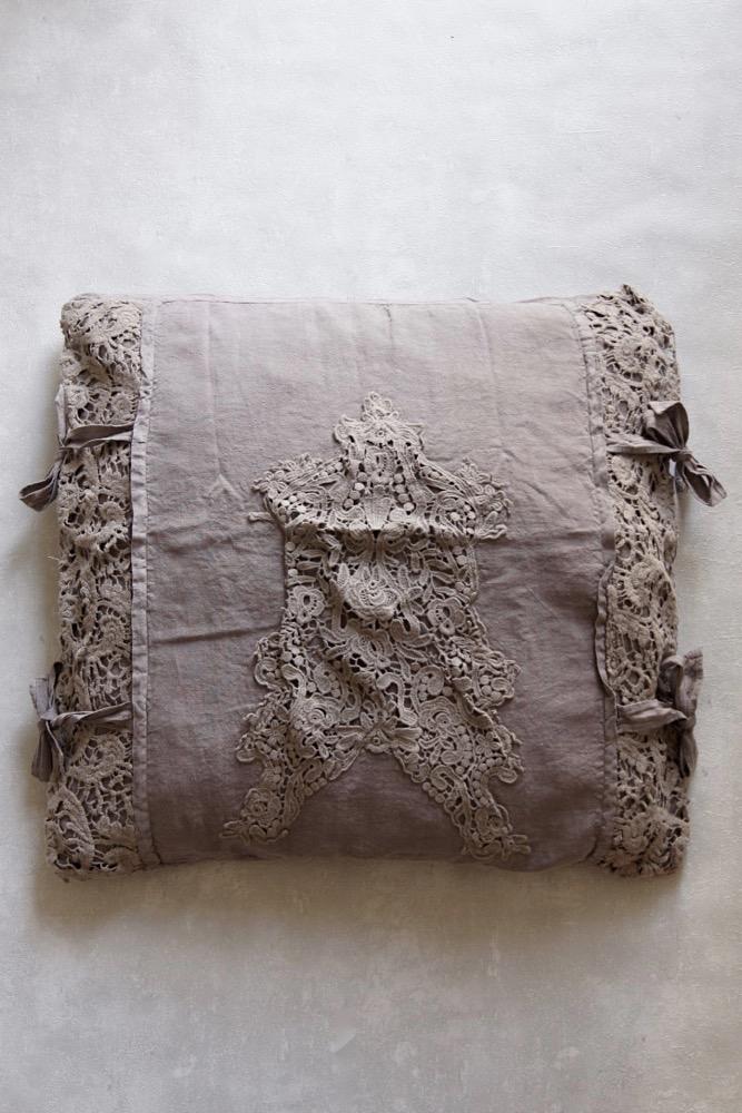 Rüschenkissen gewaschenes Leinen, taupe/braun, 60x60
