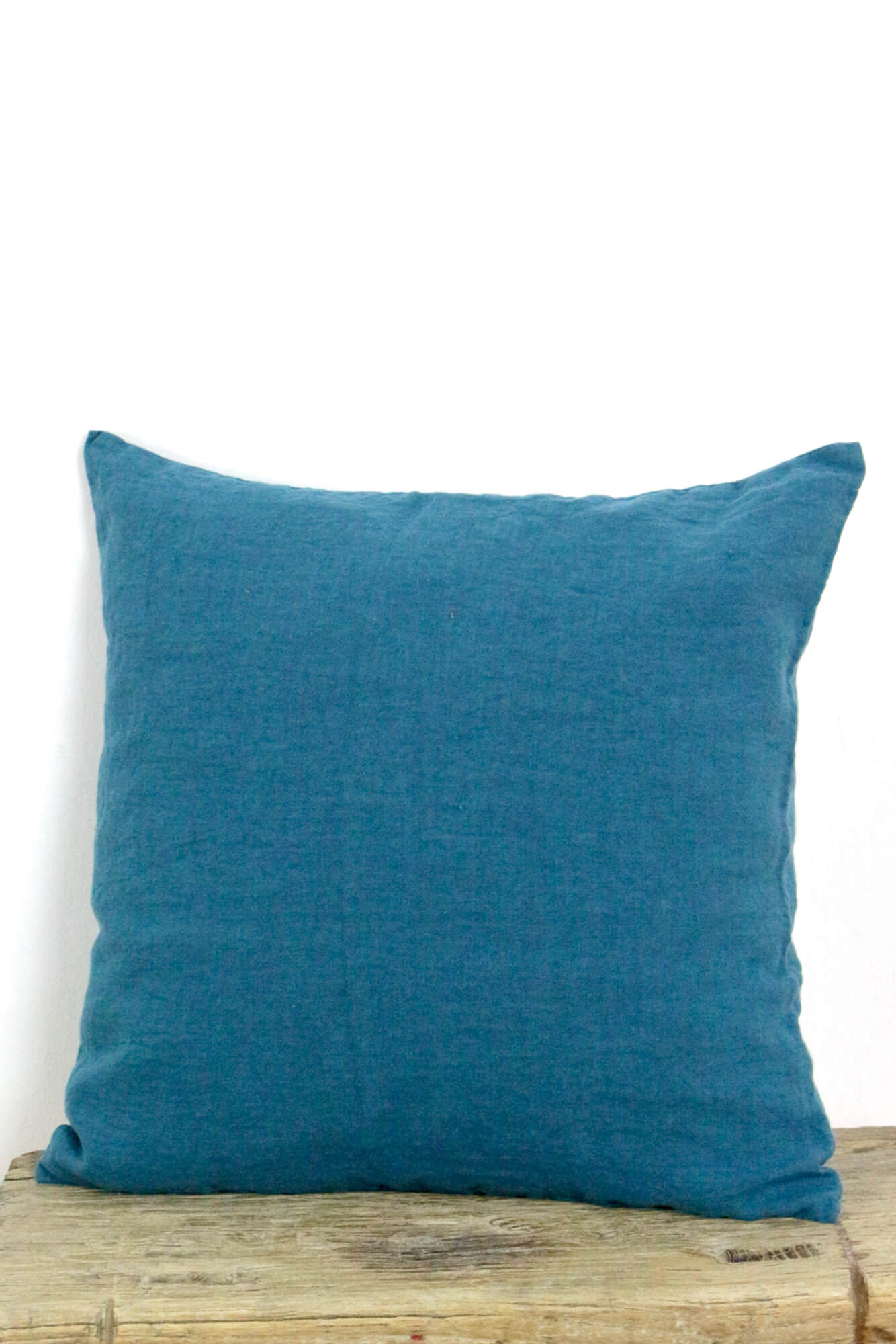 Kissenbezug Knitterleinen meerblau 40x40