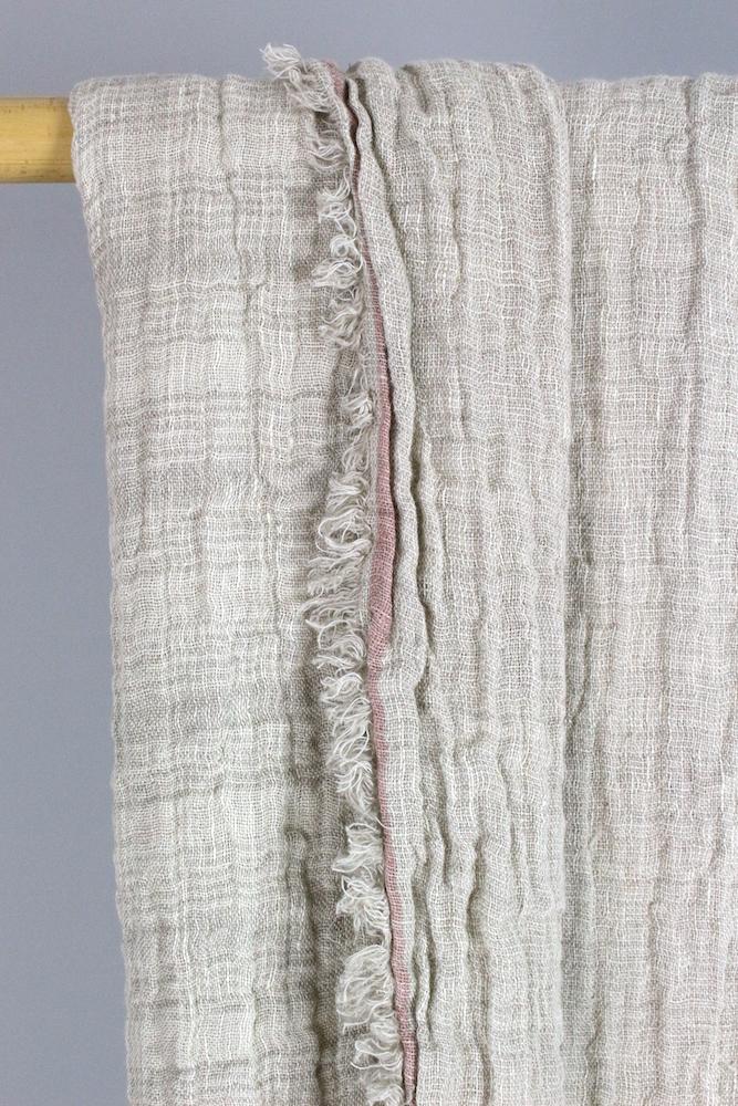 Leinenplaid sand und beige mit rosa Rand