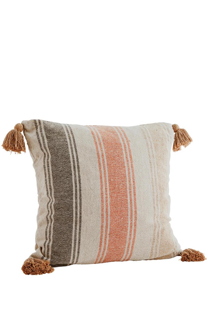 Baumwollkissen mit Streifen und Quasten, 60x60
