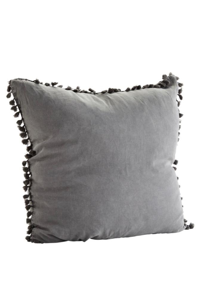 Leinen Kissen mit Quasten, Grau, 65x65