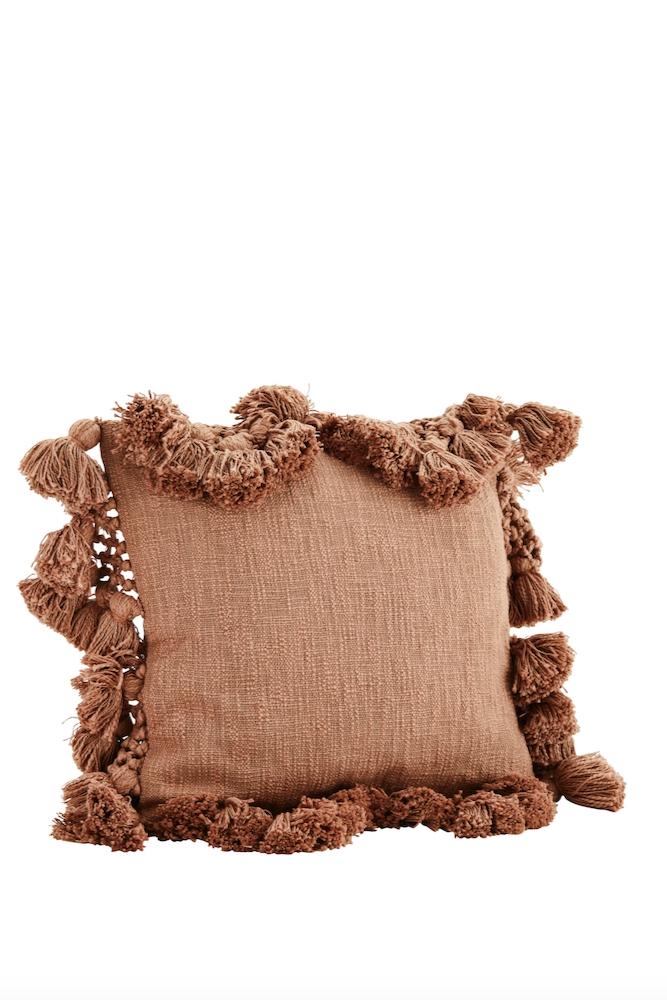 Kissenbezug mit Pompoms nude, 45x45