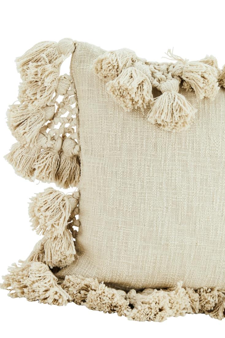 Baumwollkissen mit Bommeln cremeweiß 45x45