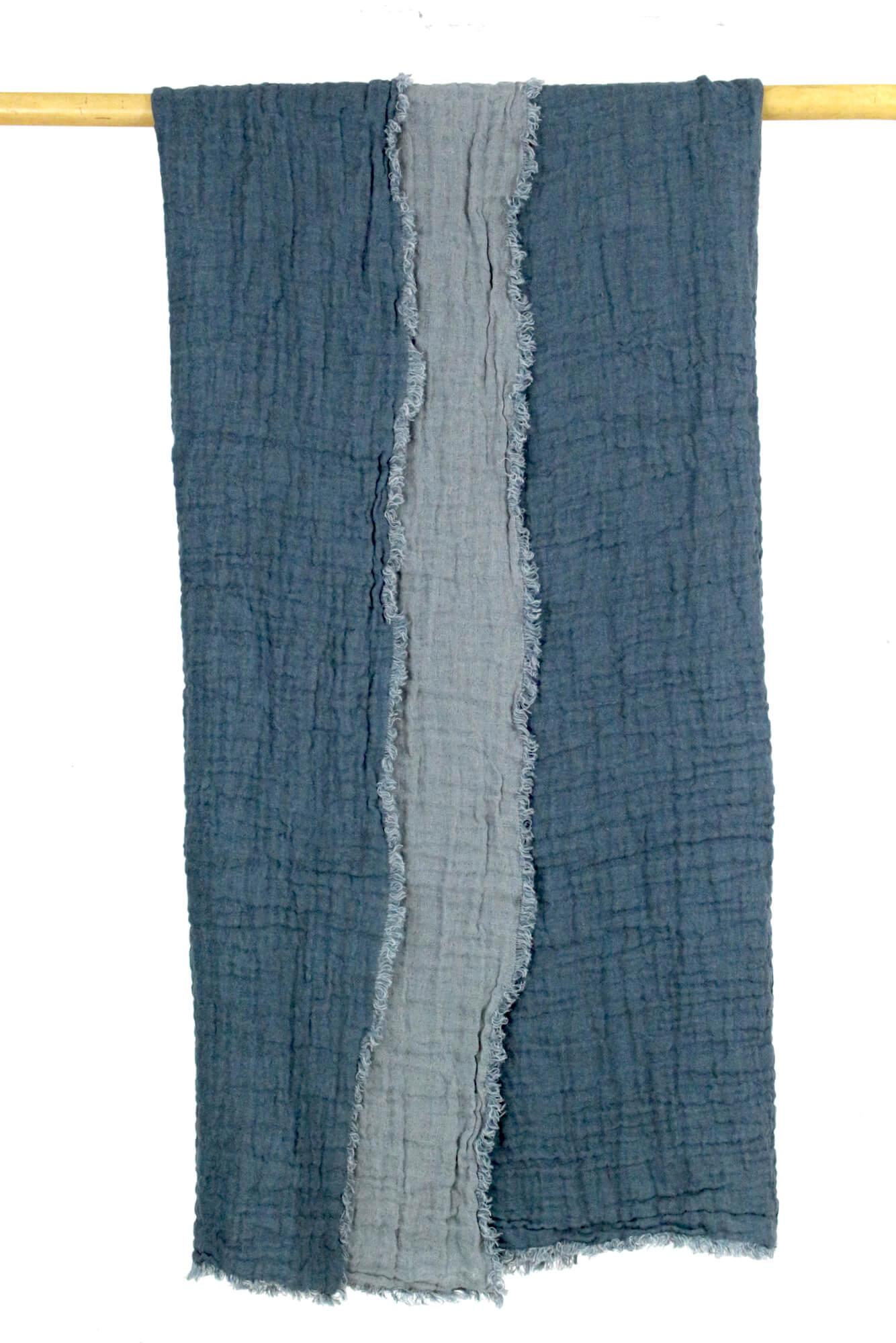 Decke aus Leinenkrepp Jeansblau