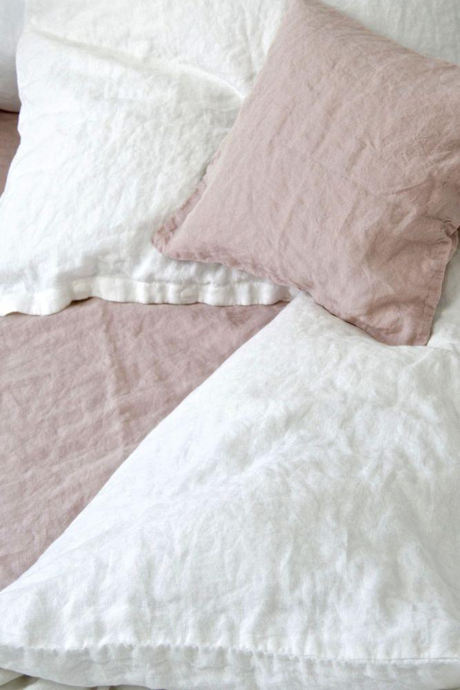 Leinen Bettwäsche stone washed, weiß