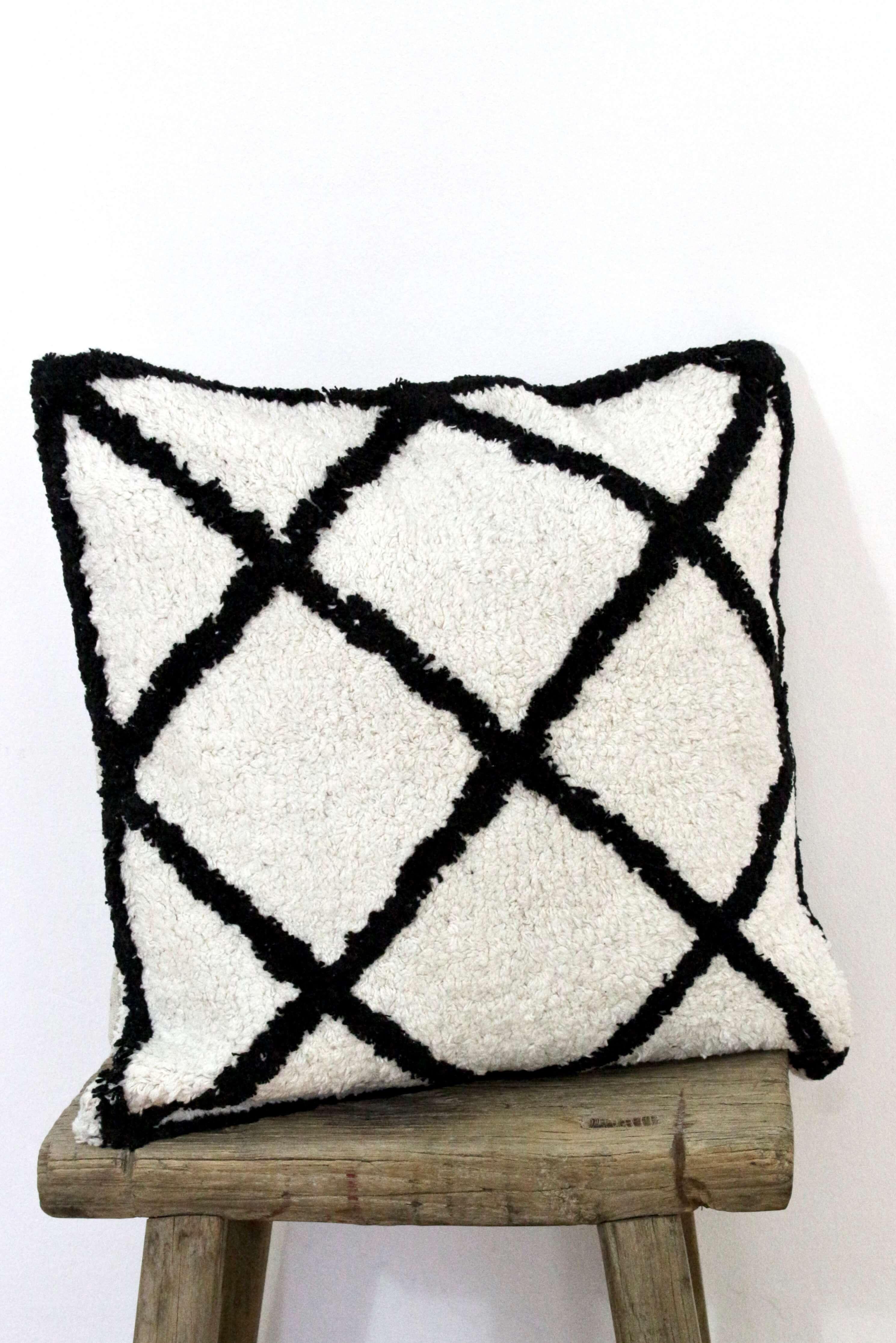 Boho Kissen schwarz weiß, 50x50