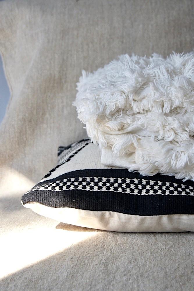 Fransenplaid off-white, 150x125