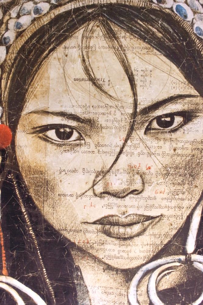 Kunstdruck 'Mädchen aus Birma' 120x120