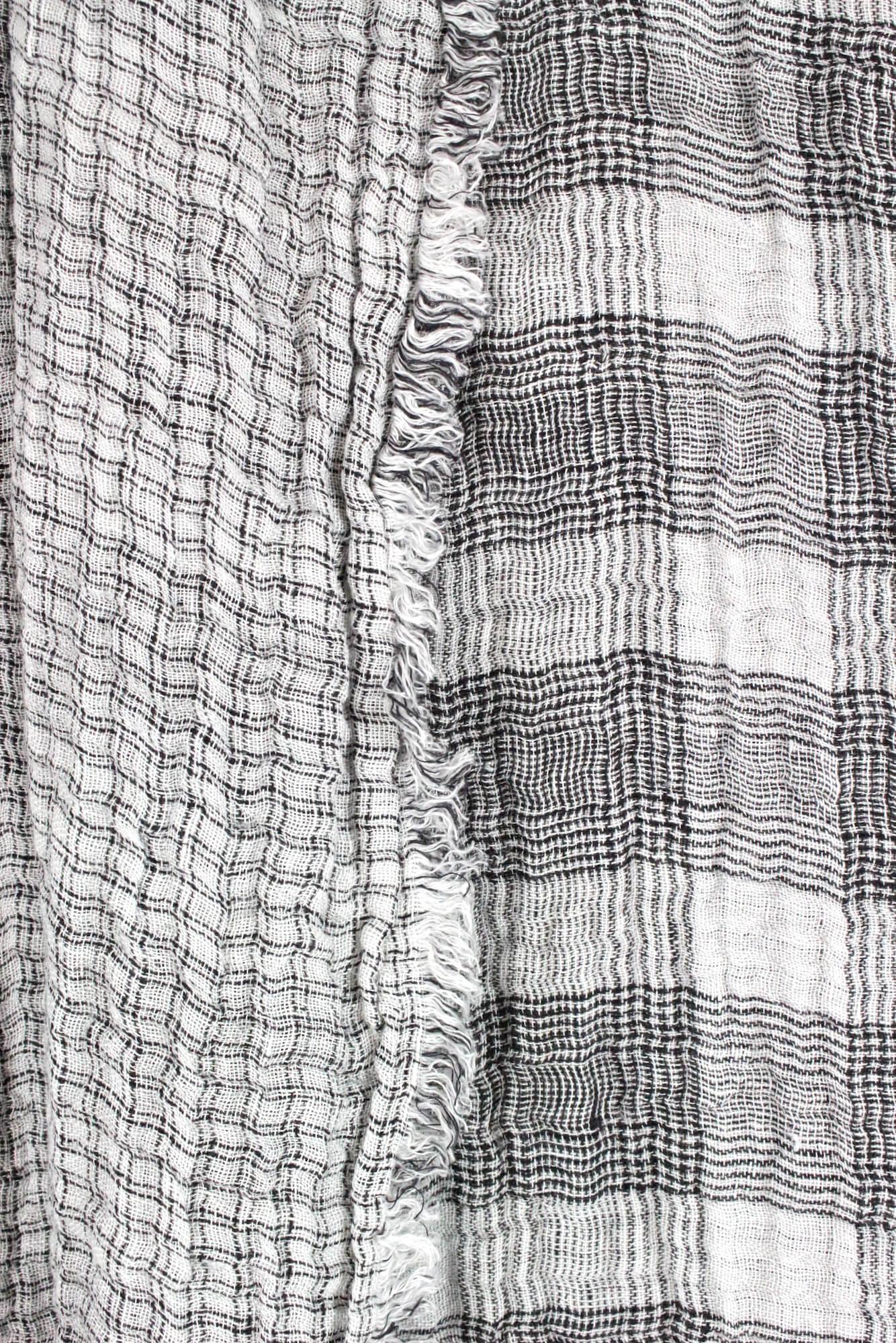 Decke Leinenkrepp schwarz-weiß kariert