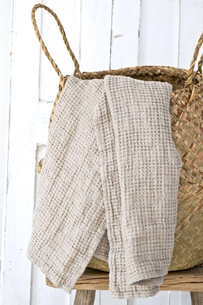 """Leinen Badetuch mit Waffelmuster, """"natural"""" beige, 130x75"""