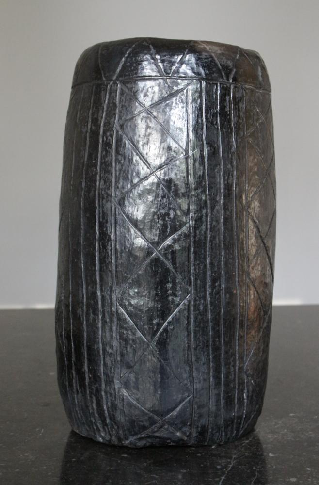 Keramik Vase schwarz handgetöpfert, 30xø15