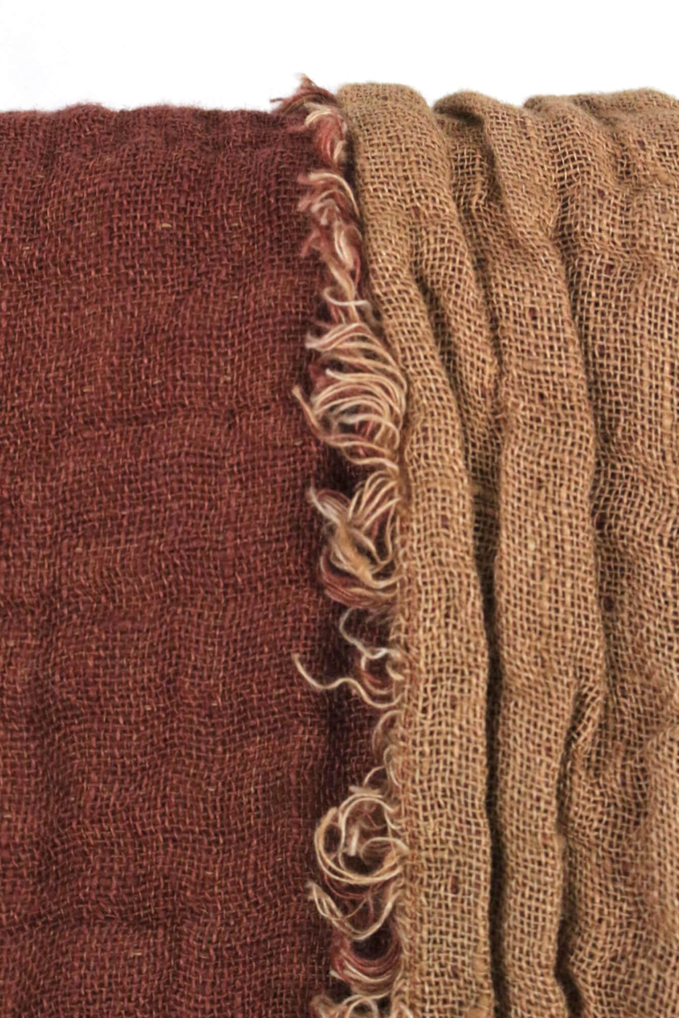 Decke aus gewaschenem Leinen rostrot und Zimt