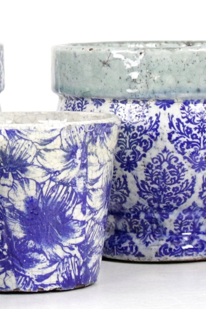 Blumentopf mit Blumenmuster blau weiß, 12xø14