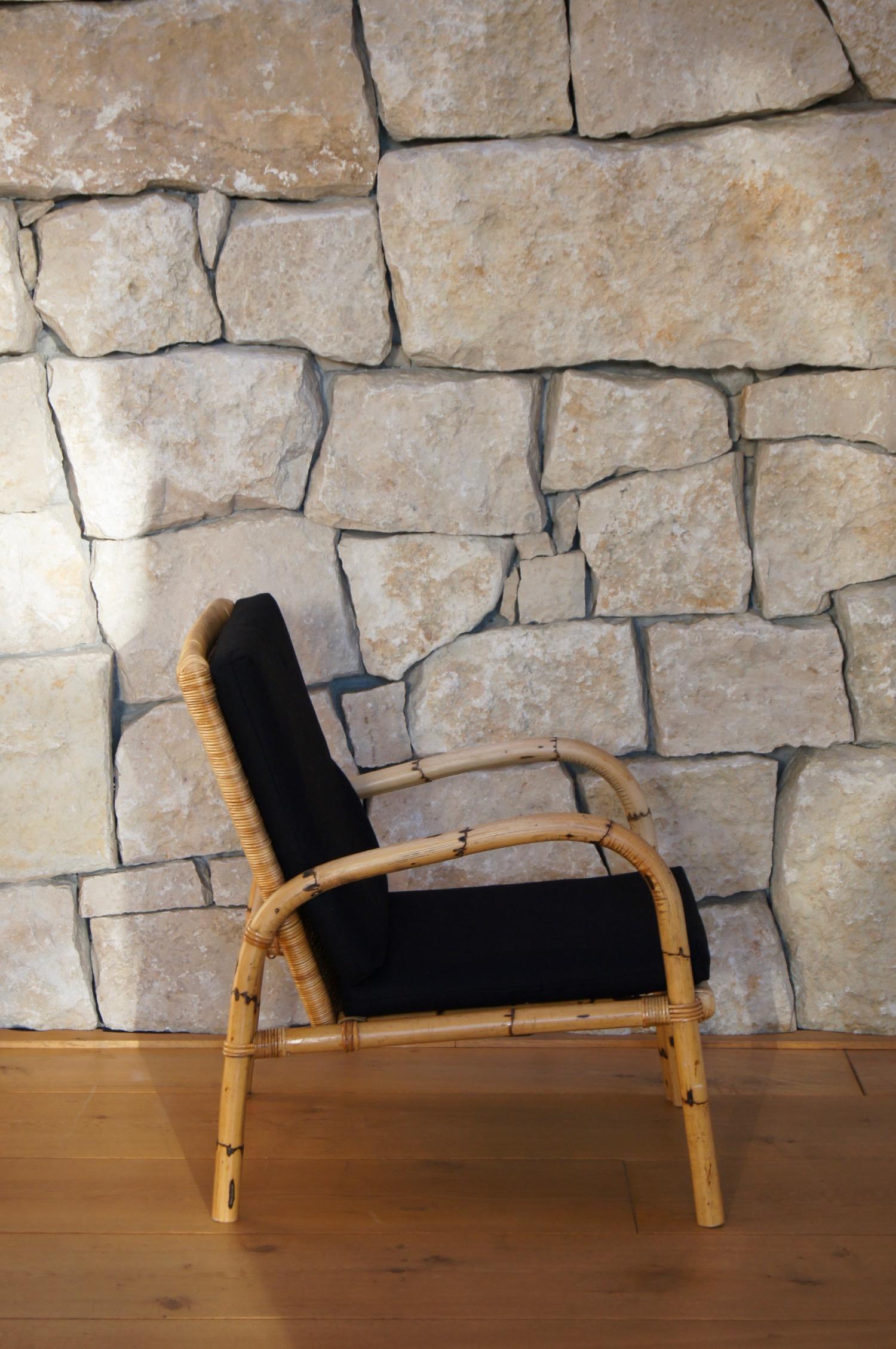 50er Jahre Tisch und Sessel aus Rattan