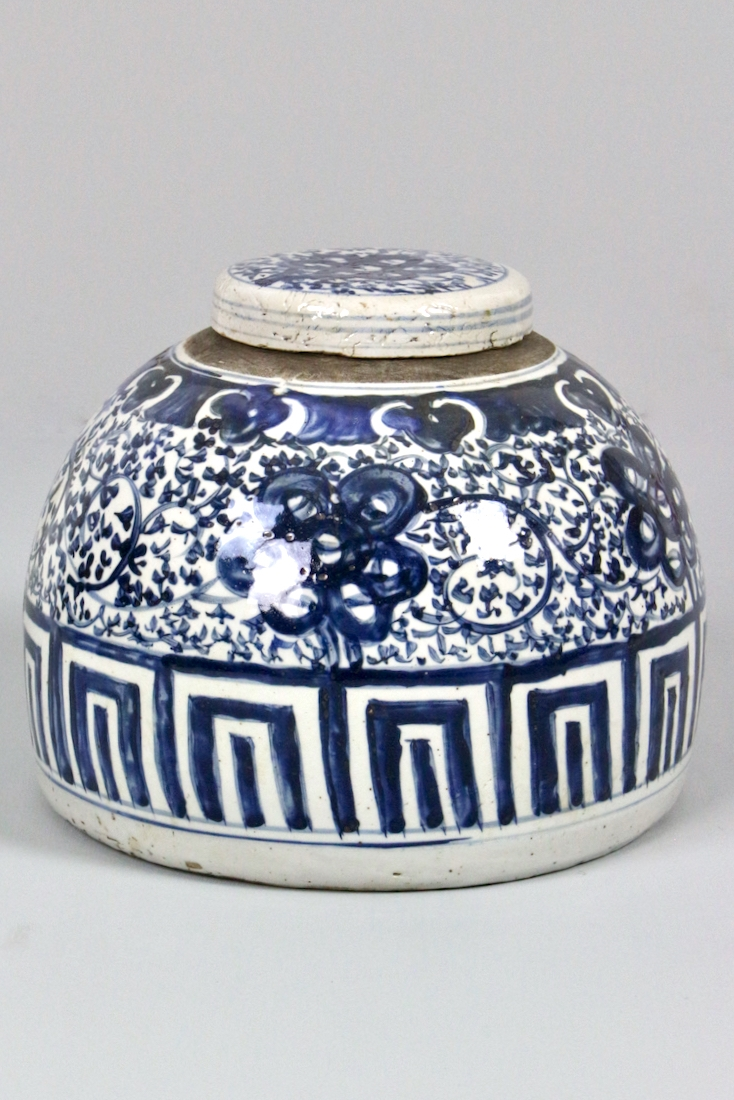 Porzellandose blau weiß China, 23xø30