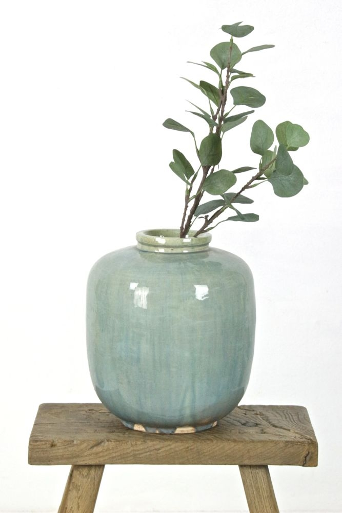 Keramikvase blaugrün China, 31xø27