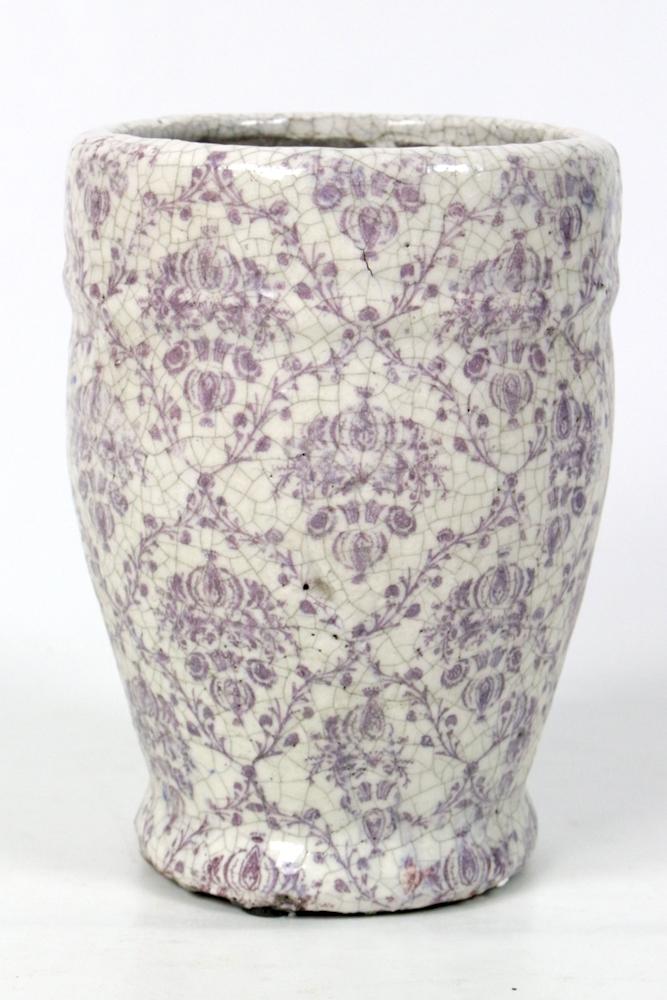 Blumentopf weiß mit rosa-lila Muster, 20xø15