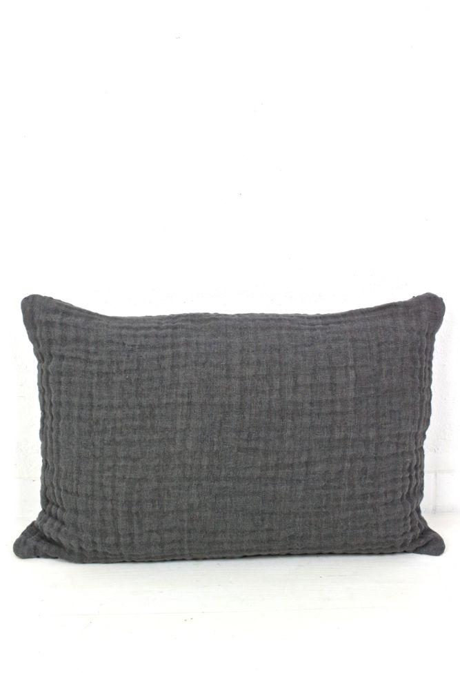 Kissen aus Leinenkrepp dunkelgrau, 40x60