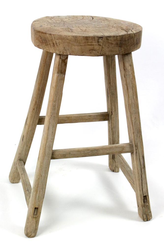 Großer Holzhocker  / kleiner Tisch China antik rustikal