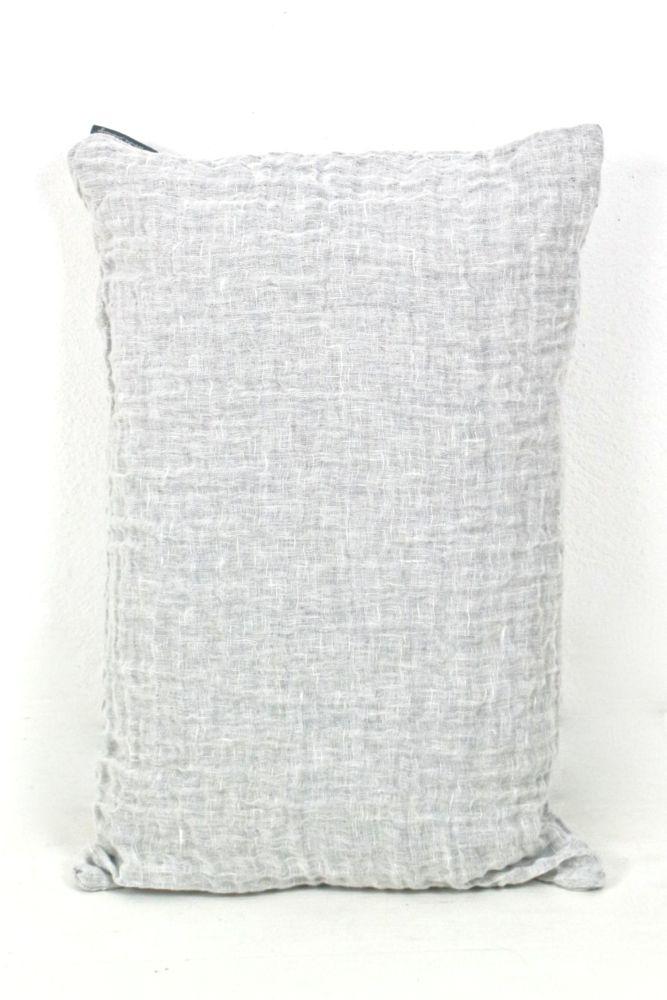Leinenkissen aus gewaschenem Leinen, hellgrau, 40x60