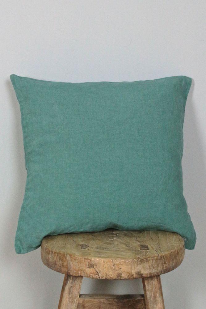 Kissenbezug Knitterleinen grün, 40x40