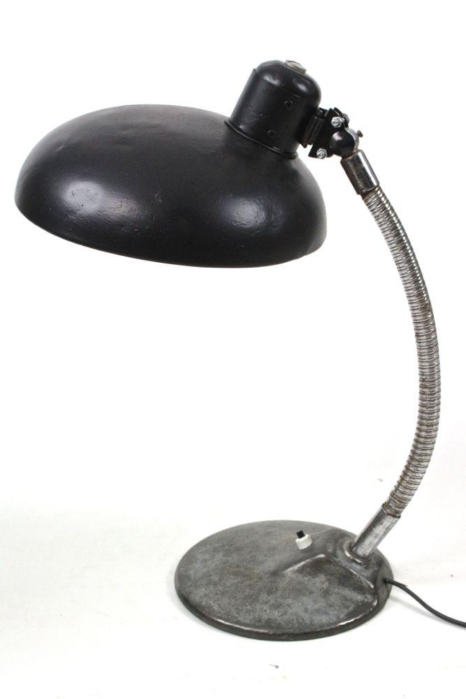 Schwanenhalslampe 50er Jahre, schwarz