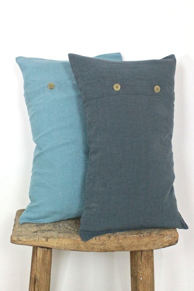 Kissenhülle Leinen meerblau, 30x50