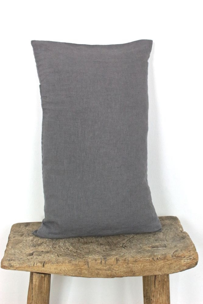 Kissenhülle Leinen gewaschen stahlgrau, 30x50