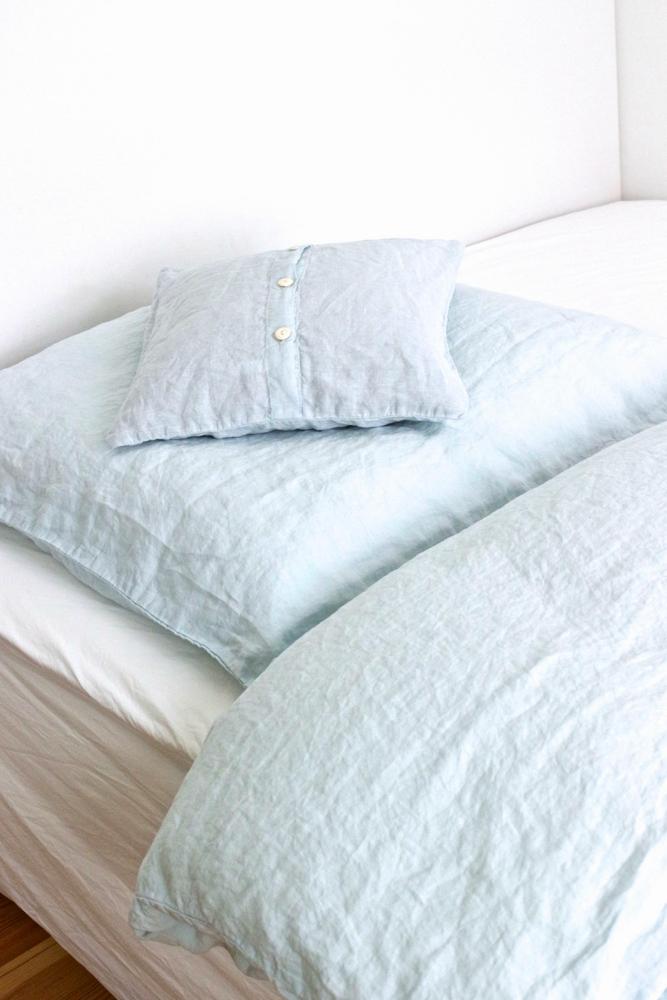 Bettwäsche Leinen gewaschen hellblau