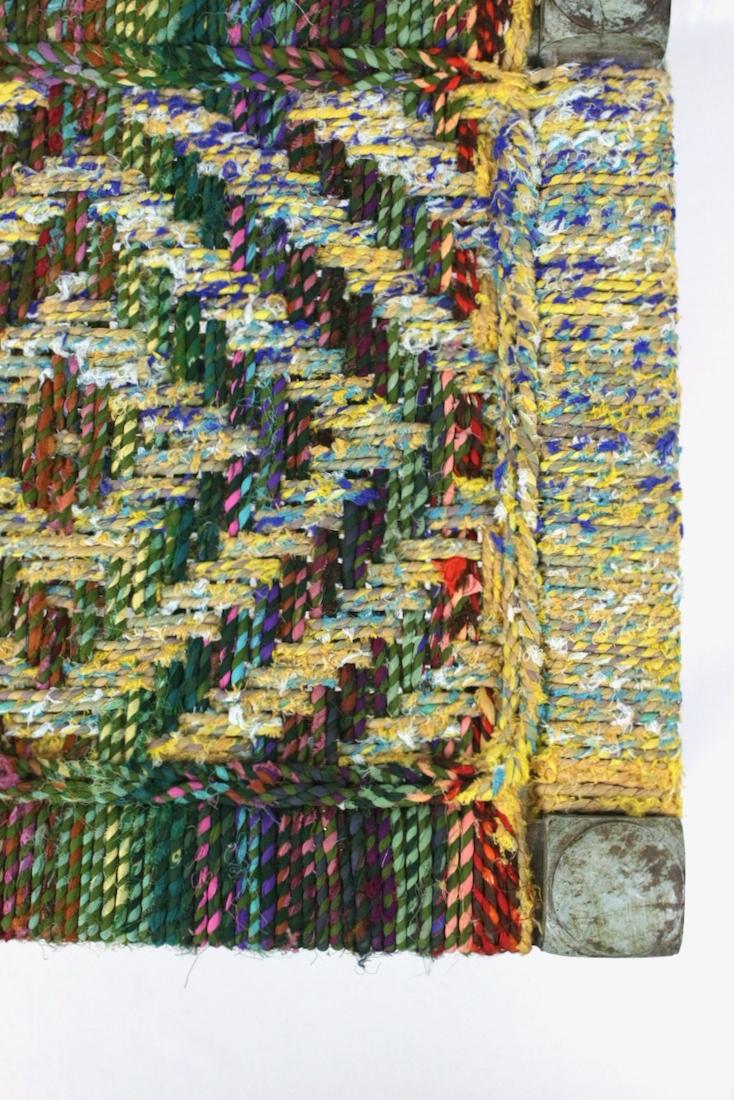 Hocker mit buntem Geflecht Indien, 40x50x50
