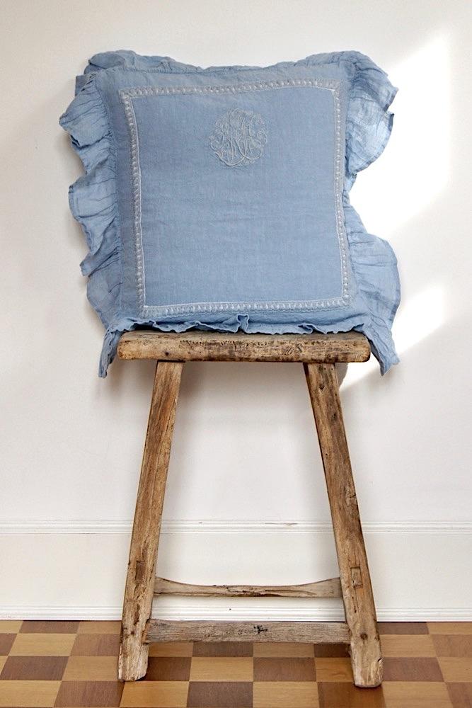 Rüschenkissen blau, 45x45