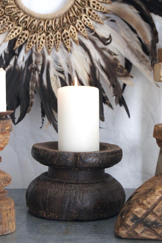 Kerzenständer rund rustikal, Indien