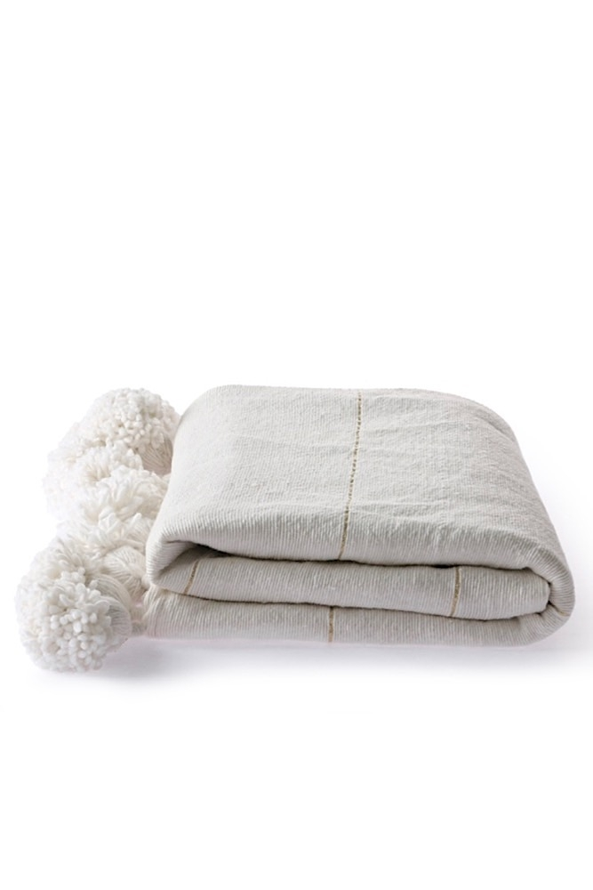 Baumwolldecke mit Bommeln, 170x130